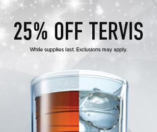 Picture of a cup. 25% off Tervis. While supplies last. Exclusions may apply. Click to shop now.