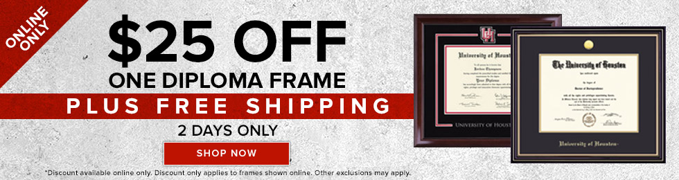 Picture of diploma frames. Online only. $25 off on one diploma frame. Plus free shipping. 2 days only. Discount available online only. Discount only applies to frames shown online. Other exclusions may apply. Click to ship now.