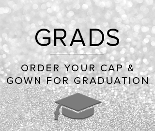 Sparkling background with picture of a graduation cap. Grads, click to order your Cap & Gown for graduation.